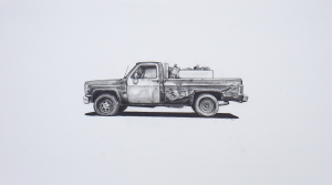Kevin Cyr -  <strong>India</strong> (2017<strong style = 'color:#635a27'></strong>)<bR /> graphite on paper, 10 x 18 inches, (framed: 11.25 x 19.25 inches), $1,100