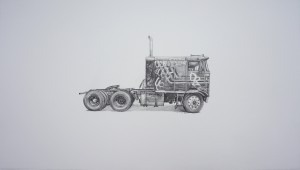 Kevin Cyr -  <strong>Kenworth</strong> (2017<strong style = 'color:#635a27'></strong>)<bR /> graphite on paper, 12 x 20 inches, (framed: 13.25 x 21.25 inches), $1,400