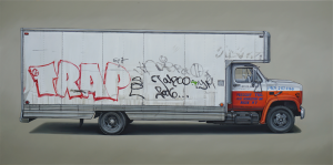 Kevin Cyr -  <strong>Lombardy</strong> (2017<strong style = 'color:#635a27'></strong>)<bR /> oil on panel, 30 x 60 inches, $8,000