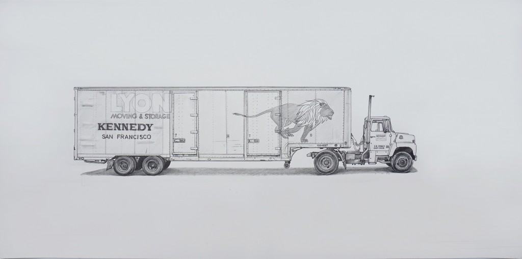 Kevin Cyr -  <strong>Lyon</strong> (2017<strong style = 'color:#635a27'></strong>)<bR /> graphite on paper, 12 x 24 inches, (framed: 13 x 25 inches), $1,800