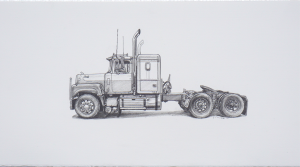 Kevin Cyr -  <strong>Mack</strong> (2017<strong style = 'color:#635a27'></strong>)<bR /> graphite on paper, 8 x 16 inches, (framed: 9.25 x 17.25 inches), Sold