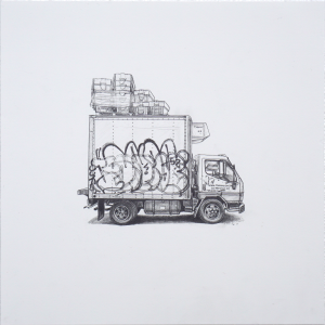 Kevin Cyr -  <strong>Monitor</strong> (2017<strong style = 'color:#635a27'></strong>)<bR /> graphite on paper, 12 x 12 inches, (framed: 13.25 x 13.25 inches), $900