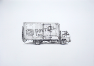 Kevin Cyr -  <strong>Pretzel</strong> (2017<strong style = 'color:#635a27'></strong>)<bR /> graphite on paper, 14 x 20 inches, (framed: 15.25 x 21.25 inches), $1,500