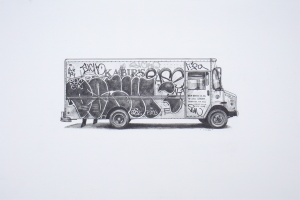 Kevin Cyr -  <strong>RH Baking</strong> (2017<strong style = 'color:#635a27'></strong>)<bR /> graphite on paper, 8 x 16 inches, (framed: 9.25 x 17 inches), $900