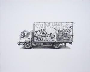 Kevin Cyr -  <strong>Waterbury</strong> (2017<strong style = 'color:#635a27'></strong>)<bR /> graphite on paper, 18 x 22 inches, (framed: 19.25 x 23.25 inches), $1,675