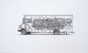 Kevin Cyr -  <strong>Wilson II</strong> (2017<strong style = 'color:#635a27'></strong>)<bR /> graphite on paper, 12 x 20 inches, (framed: 13.25 x 21.25 inches), $1,400