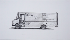 Kevin Cyr -  <strong>Wise Grumman II</strong> (2017<strong style = 'color:#635a27'></strong>)<bR /> graphite on paper, 9 x 16 inches, (framed: 10.25 x 17.25 inches) $1,050