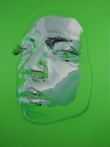 Kip Omolade -  <strong>Diovadiova Chrome Diana II</strong> (2014<strong style = 'color:#635a27'></strong>)<bR /> oil on canvas 36 x 48 inches  $10,000
