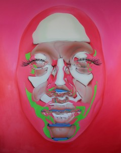 Kip Omolade -  <strong>Diovadiova Chrome Kitty Cash III</strong> (2015<strong style = 'color:#635a27'></strong>)<bR /> oil on canvas 48 x 60 inches  $15,000