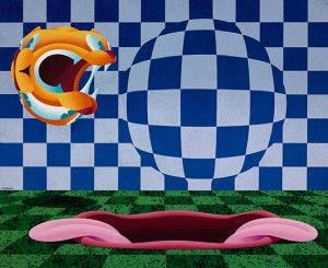 Anthony Ausgang -  <strong>Cat and Mouth</strong> (2016<strong style = 'color:#635a27'></strong>)<bR /> acrylic on canvas 26 x 32 inches