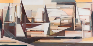 Augustine Kofie -  <strong>Westerner</strong> (2017<strong style = 'color:#635a27'></strong>)<bR /> Acrylic and spray paint on primed cotton duck canvas. Finished in satin varnish. 30 x 60 x  2 inches