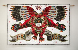 Ben Venom -  <strong>Iron Fist</strong> (2017<strong style = 'color:#635a27'></strong>)<bR /> handmade quilt with recycled fabric, 60 x 95 inches