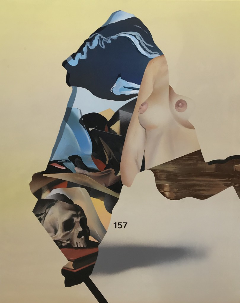 Eric Basstein -  <strong>Dynamic Tension</strong> (2016<strong style = 'color:#635a27'></strong>)<bR /> acrylic and spraypaint on canvas, 31.5 x 39.3 inches