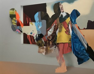 Eric Basstein -  <strong>Flying With Elephants</strong> (2017<strong style = 'color:#635a27'></strong>)<bR /> acrylic and spraypaint on canvas, 47.2 x 59 inches