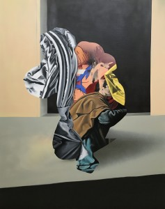 Eric Basstein -  <strong>Power</strong> (2017<strong style = 'color:#635a27'></strong>)<bR /> acrylic and spraypaint on canvas, 47.2 x 59 inches