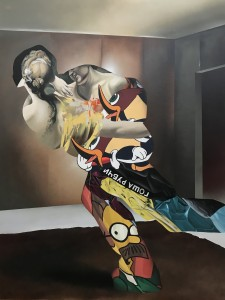Eric Basstein -  <strong>Pursuit and Seduction</strong> (2017<strong style = 'color:#635a27'></strong>)<bR /> acrylic and spraypaint on canvas, 51.1 x 66.9 inches