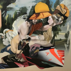 Eric Basstein -  <strong>The Air Between Us</strong> (2017<strong style = 'color:#635a27'></strong>)<bR /> acrylic and spraypaint on canvas, 39.3 x 39.3 inches