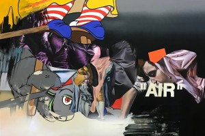 Eric Basstein -  <strong>Urban Vanity</strong> (2017<strong style = 'color:#635a27'></strong>)<bR /> acrylic and spraypaint on canvas, 39,3 x 59 inches