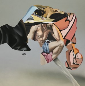 Eric Basstein -  <strong>Victory</strong> (2016<strong style = 'color:#635a27'></strong>)<bR /> acrylic and spraypaint on canvas, 35.4 x 35.4 inches