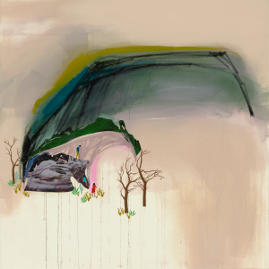 Seonna Hong -  <strong>Aggregate</strong> (2017<strong style = 'color:#635a27'></strong>)<bR /> mixed media on canvas 36 x 36 inches