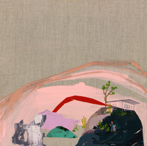Seonna Hong -  <strong>Joshua Tree No. 2</strong> (2017<strong style = 'color:#635a27'></strong>)<bR /> mixed media on canvas 12 x 12 inches
