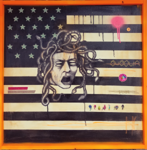 Carlos Ramirez -  <strong>Medusa</strong> (2017<strong style = 'color:#635a27'></strong>)<bR /> mixed media, acrylic, spray paint, found objects 36 x 36 inches