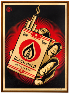 Shepard Fairey -  <strong>Black Gold</strong> (2015<strong style = 'color:#635a27'></strong>)<bR /> Edition 1/6 Silkscreen on Wood Panel  18 x 24 inches