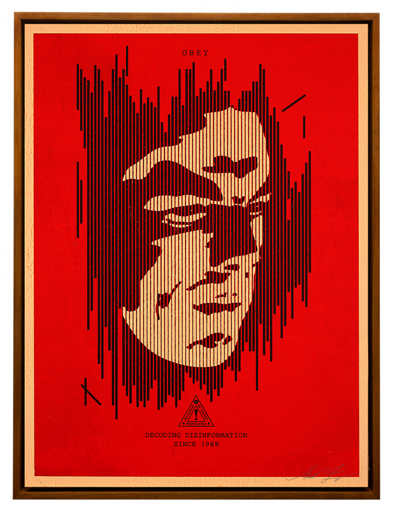 Shepard Fairey -  <strong>Decoding Disinformation (Red)</strong> (2015<strong style = 'color:#635a27'></strong>)<bR /> Edition 1/6  Silkscreen on Wood Panel 18 x 24 inches