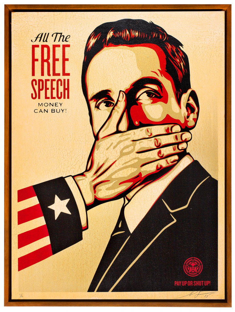 Shepard Fairey -  <strong>Pay Up or Shut Up</strong> (2015<strong style = 'color:#635a27'></strong>)<bR /> Edition 2/6 Silkscreen on Wood Panel  18 x 24 inches