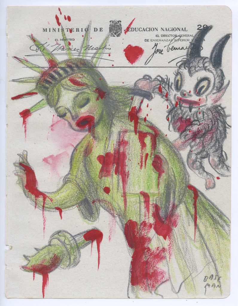 Gary Baseman -  <strong>Ministerio Page 29</strong> (2017<strong style = 'color:#635a27'></strong>)<bR /> acrylic and colored pencil on ephemera 8.5 x 6.5 inches