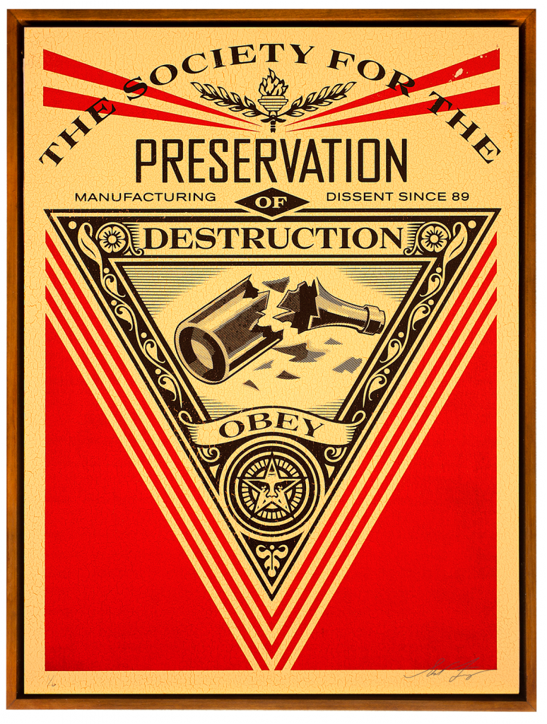 Shepard Fairey -  <strong>Society of Destruction</strong> (2015<strong style = 'color:#635a27'></strong>)<bR /> Edition 3/6 Silkscreen on Wood Panel  18 x 24 inches