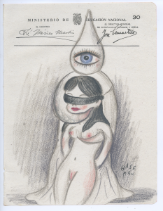 Gary Baseman -  <strong>Ministerio Page 30</strong> (2017<strong style = 'color:#635a27'></strong>)<bR /> colored pencil on ephemera 8.5 x 6.5 inches