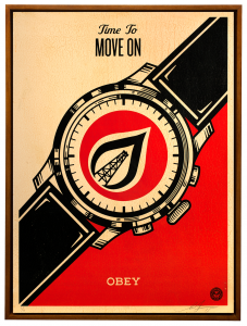 Shepard Fairey -  <strong>Time to Move On</strong> (2015<strong style = 'color:#635a27'></strong>)<bR /> Edition 1/6 Silkscreen on Wood Panel  18 x 24 inches