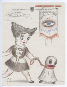 Gary Baseman -  <strong>Ministerio Page 31</strong> (2017<strong style = 'color:#635a27'></strong>)<bR /> colored pencil on ephemera 8.5 x 6.5 inches