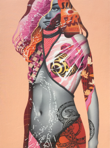 Tristan Eaton -  <strong>Super Strike 1</strong> (2016<strong style = 'color:#635a27'></strong>)<bR /> spray paint on canvas 24 x 36 inches