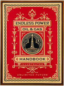 Shepard Fairey -  <strong>Oil and Gas Handbook Page</strong> (2015<strong style = 'color:#635a27'></strong>)<bR /> Edition 2/6  Silkscreen on Wood Panel 18 x 24 inches