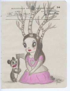 Gary Baseman -  <strong>Ministerio Page 34</strong> (2017<strong style = 'color:#635a27'></strong>)<bR /> colored pencil on ephemera 8.5 x 6.5 inches