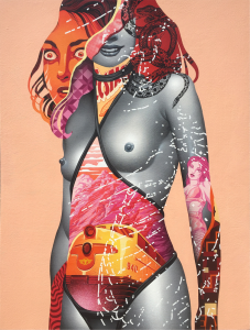 Tristan Eaton -  <strong>Super Strike 2</strong> (2016<strong style = 'color:#635a27'></strong>)<bR /> spray paint on canvas 24 x 36 inches