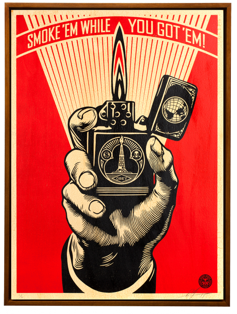 Shepard Fairey -  <strong>Smoke 'em While You Got 'em </strong> (2015<strong style = 'color:#635a27'></strong>)<bR /> Edition 3/6 Silkscreen on Wood Panel  18 x 24 inches