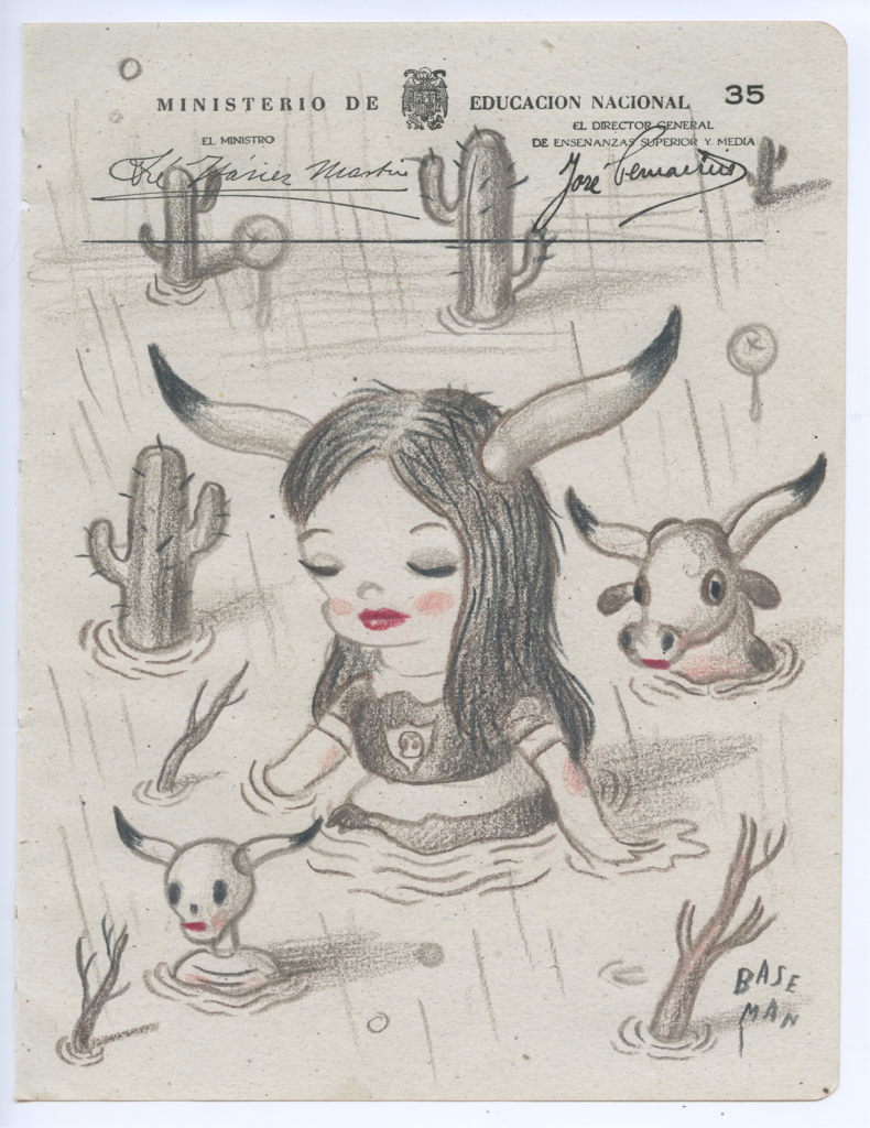 Gary Baseman -  <strong>Ministerio Page 35</strong> (2017<strong style = 'color:#635a27'></strong>)<bR /> colored pencil on ephemera 8.5 x. 6.5 inches