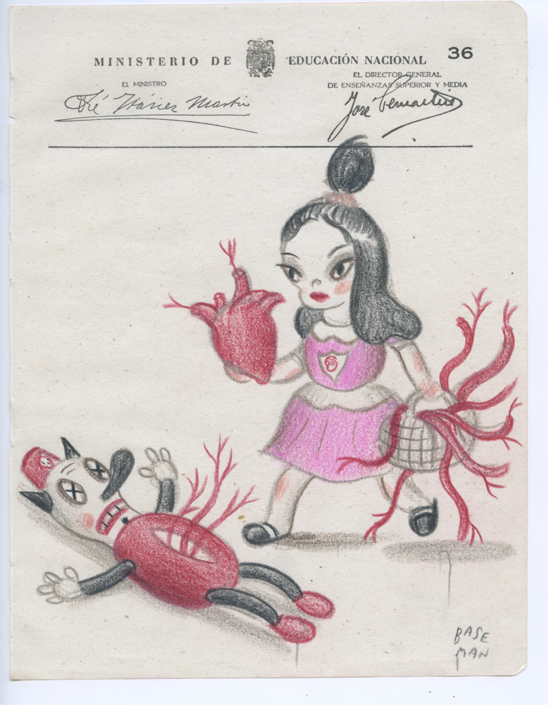 Gary Baseman -  <strong>Ministerio Page 36</strong> (2017<strong style = 'color:#635a27'></strong>)<bR /> colored pencil on ephemera 8.5 x 6.5 inches