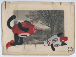 Gary Baseman -  <strong>The Ferry</strong> (2017<strong style = 'color:#635a27'></strong>)<bR /> acrylic on ephemera 7 1/4 x 9 5/8 inches