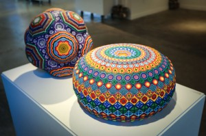 Mario Martinez (Mars-1) -  <strong>Beaded Huichol Torus</strong> (2017<strong style = 'color:#635a27'></strong>)<bR /> resin and beads by Huichol Tribe Members 19 x 19 x 19 inches Edition of 12