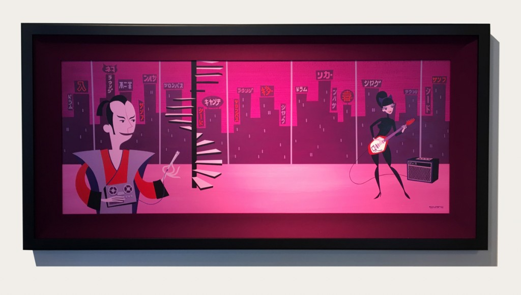 Josh Agle (SHAG) -  <strong>Gitagaru</strong> (2017<strong style = 'color:#635a27'></strong>)<bR /> (Framed view)