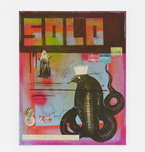 Carlos Ramirez -  <strong>Solo</strong> (2017<strong style = 'color:#635a27'></strong>)<bR /> acrylic, spray paint and mixed media on canvas, 20 x 16 inches $3,500