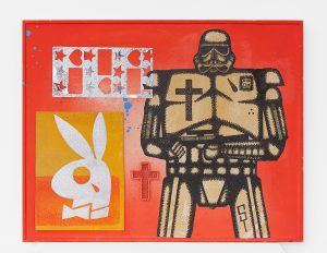 Carlos Ramirez -  <strong>El Playboy</strong> (2017<strong style = 'color:#635a27'></strong>)<bR /> acrylic, spray paint and mixed media on wood, 11 x 14.125 inches, $1,800