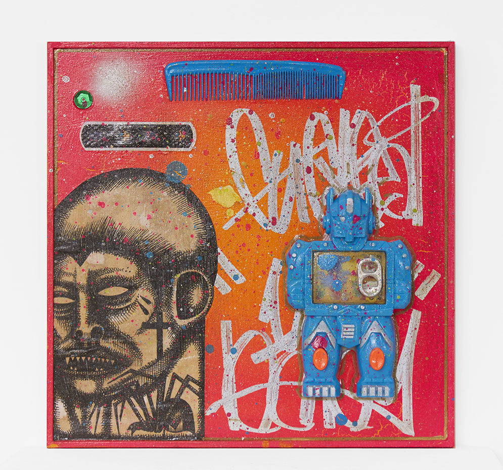 Carlos Ramirez -  <strong>Dollar Store</strong> (2017<strong style = 'color:#635a27'></strong>)<bR /> acrylic, spray paint and mixed media on canvas, 10 x 10 inches, $1,500