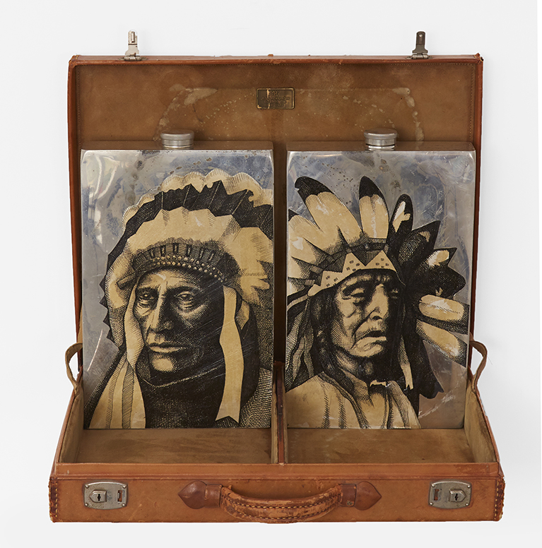 Carlos Ramirez -  <strong>Drunken Mess</strong> (2017<strong style = 'color:#635a27'></strong>)<bR /> Abercrombie & Fitch 1920s era bootleggers case and flasks, 13 x 17 x 3 inches