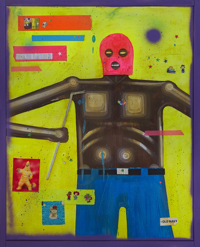 Carlos Ramirez -  <strong>3 am </strong> (2017<strong style = 'color:#635a27'></strong>)<bR /> acrylic, spray paint and  mixed media on canvas, 29.5 x 24 inches