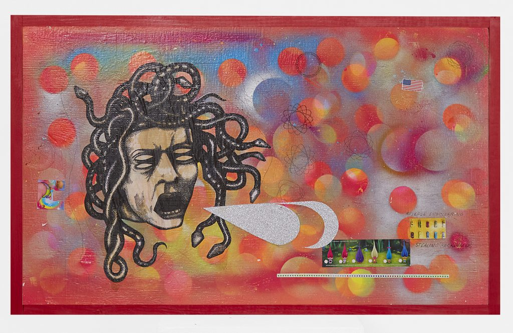 Carlos Ramirez -  <strong>Med U.S.A</strong> (2017<strong style = 'color:#635a27'></strong>)<bR /> acrylic, spray paint and mixed media on wood, 18 x 30 inches $6,000